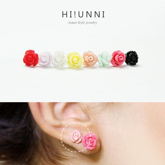 16g 8mm Small Rose Barbell Ear Piercing Stud flower by HiUnni