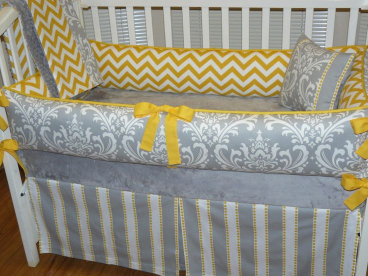 Cute Chevron Baby Bedding Ideas In Baby Rooms : Fabulous Yellow Chevron Baby  Bedding With Cute Yellow Ribbon And White Baby Crib Also Grey And White  Striped ...