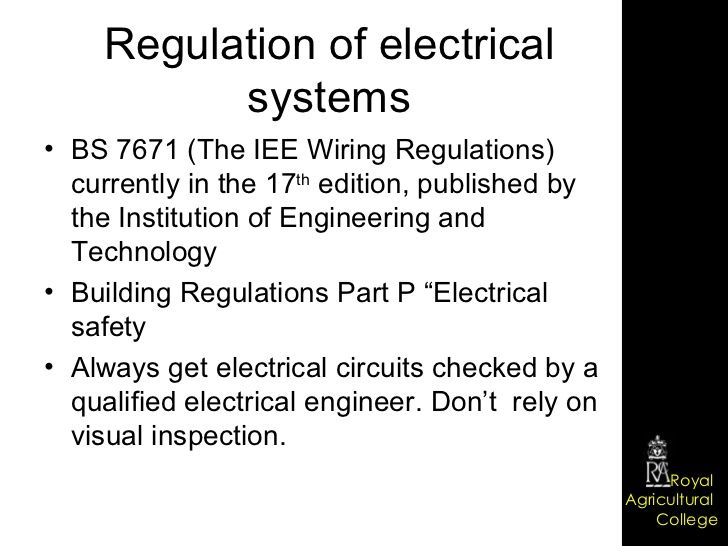 Regulation of electrical systems BS 7671 (The IEE Wiring ... on
