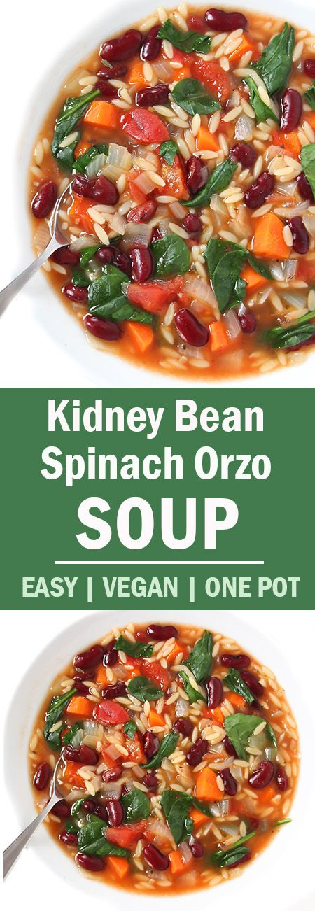 Kidney Bean Spinach Soup - 1 onion, diced; 2 carrots, diced; 4 clv garlic, minced; 30oz can kidney beans, rinsed; 15oz can diced tomatoes; 6c veg broth;  3/4c dry orzo; 3c baby spinach or kale; 1t basil; 1/2t oregano - in sprayed pot on med-high, saute onion 7-8 min. Add carrot & garlic; cook 2 min. Add broth & tomatoes with juice. Bring to light boil; add beans & orzo. Bring to boil; simmer, covered, 8 min. Stir in spinach cook 2 min until orzo is done. * use 2c of 6c broth & cook with 1c…