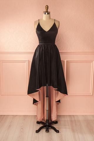 Eilna Licorice - Black shimmering high-low gown