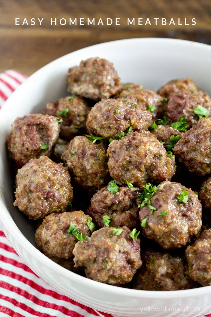 Easy & Delicious Homemade Meatballs recipe - Way better than store bought and easy too! Ground beef mixed with parmesan cheese, salt, pepper, onion and garlic powder, milk, and eggs. These are perfect alone or mixed in with pasta!
