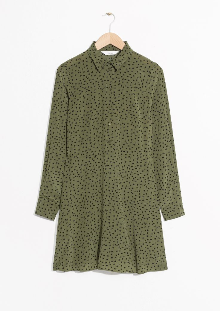 & Other Stories image 1 of Fit & Flare Shirt Dress  in  Green