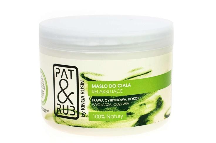 Relaksujące masło do ciała PAT o zapachu trawy cytrynowej i kokosa -> pielęgnacja + aromaterpia.  Masło odżywia i nawilża skórę ciała, a jego aromat odpręża i odświeża.