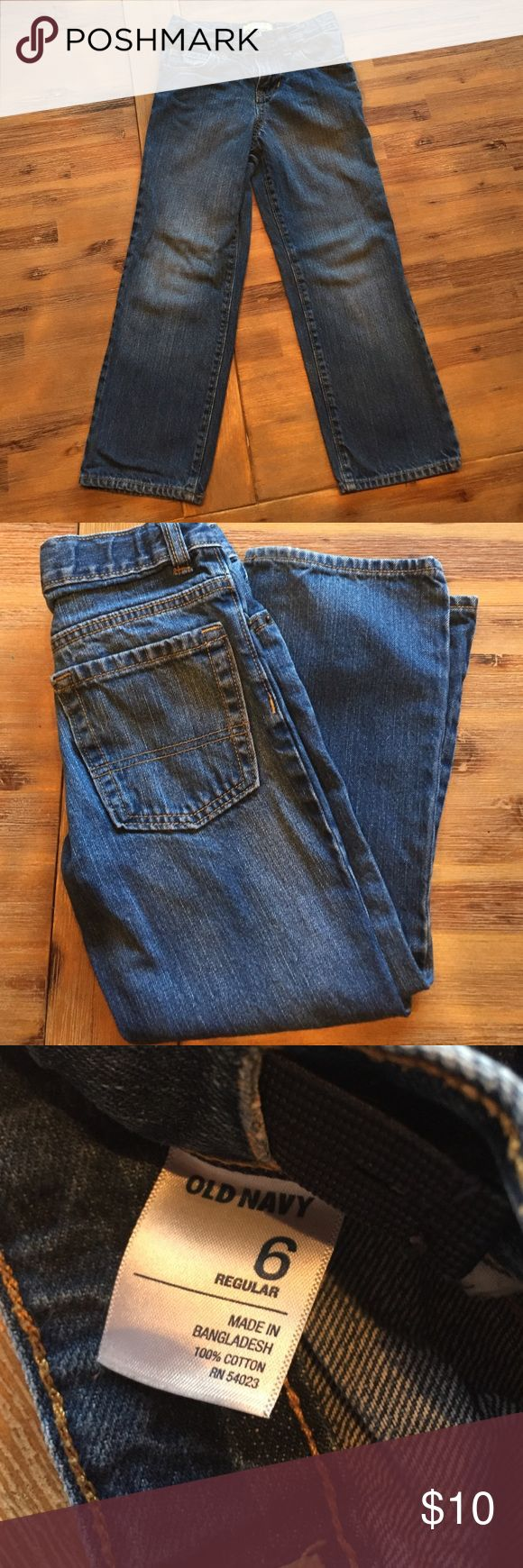 EUC Boys size 6 Old Navy straight cut jeans No fraying or signs of wear. Adjustable waist size 6 straight cut denim jean from Old Navy Old Navy Bottoms Jeans