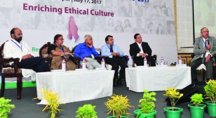 Tata Network Forum organizes Ethics Conclave 2017. Allan Burby, Advisor, Business Ethics, Tata Management Training Centre was the moderator of the session. J Singh, Visiting Professor, XLRI, Indrani Ghosh, Principal Consultant & Delivery Partner, TCS. Rajnarayan, Chief, Human Resource Officer, Titan Company Limited, Nanda Rackanchath, Chief Ethics Counsellor, Chief Human Resources officer, Tata Chemical, Sudhir Dalvi, Chief Ethics Counsellor, Head Internal Audit and Risk Management, Tata…