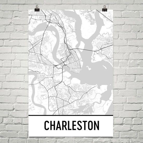 Charleston Map Art Print, Charleston SC Art Poster, Charleston Wall Art, Map of Charleston, Modern, Art, Gift, Charleston Poster