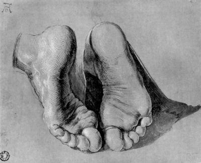Albrecht Dürer (1471-1528) - Étude des pieds d'un Apôtre en prière.