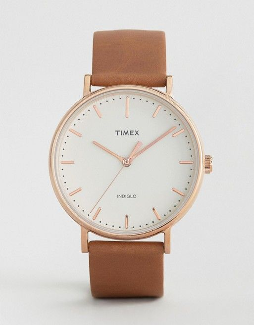 Timex Fairfield 41mm Leather Watch In Tan