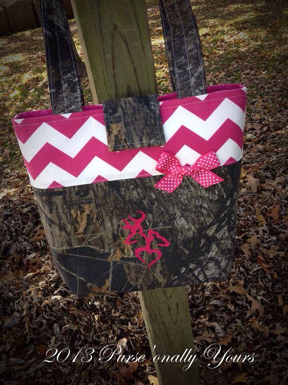 Mossy Oak Breakup Hot Pink Browning Chevron Purse by purse4you, $40.00