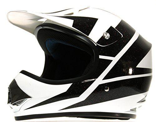 Rokx Casque de Moto Cross Enfant, Noir/Blanc Brillant, L: Coque polypropylène (résine thermoplastique) Mousse intérieur démontable sans…