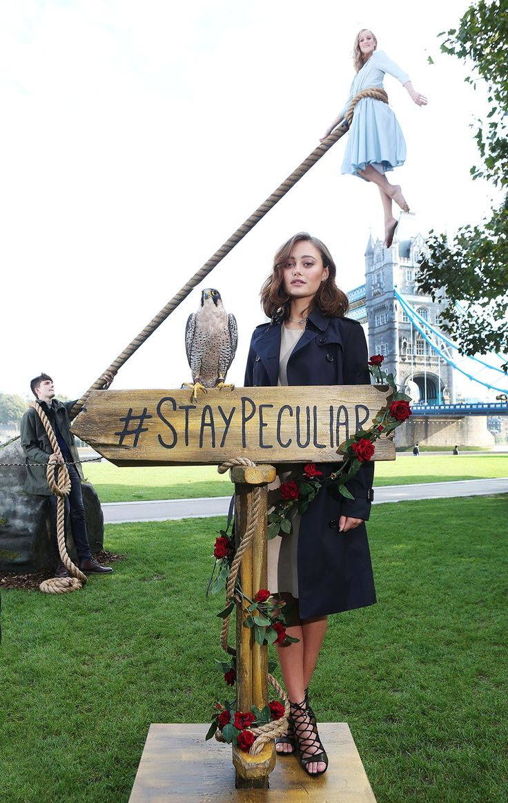 A Miss Peregrine's Home for Peculiar Children launch in London September 2016 near the tower bridge recreating a scene from the movie with Jake and Emma. Ella Purnelle (Emma) was on hand at the defying gravity event.