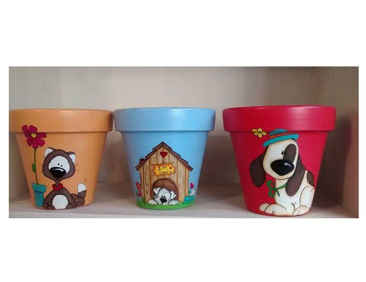 Macetas Decorativas Pintadas A Mano Diseños Gato Perro N 14 - $ 150,00