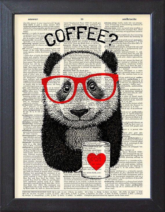 Panda-Kunst, Kaffeepause, Wörterbuch Buch Seite drucken Poster, Tasse Kaffee, Wohnheim Dekor, Geschenk Poster, Wanddekoration, CODE/088
