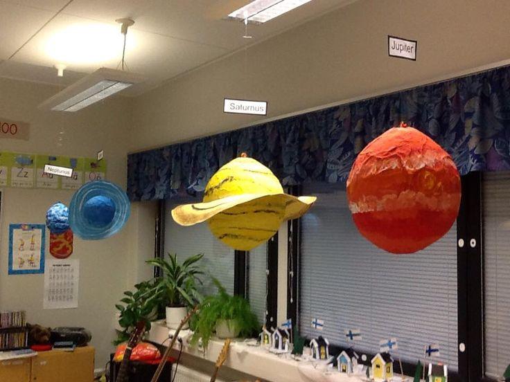 Pohjana erikokoisia palloja: paperimassapalloja pienimmät ja isompiin sekä keskikokoisiin erikokoisia ilmapalloja. Näin saimme planeetat suhteellisen lähelle oikeita kokoja suhteessa toisiinsa. Isommat pallot päällystettiin sanomalehtisuikaleilla liisteriä avulla. Planeetat maalattiin pulloväreillä ja renkaat tehtiin kartongista. (Alkuopettajat FB -sivustosta / Riikka Sihvonen)