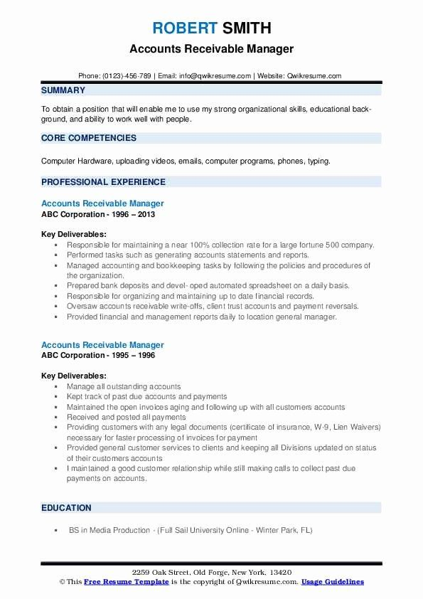 Accounts Receivables Resume Examples Inspirational Accounts Receivable Manager Resume Samples In 2020 Good Resume Examples Resume Examples Teacher Resume Examples