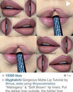 Mauve/soft brown lips