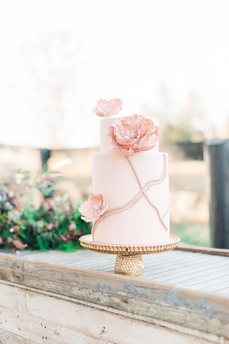pink wedding cakes - photo by Jenny B Photos http://ruffledblog.com/ethereal-wedding-inspiration-with-vintage-accents