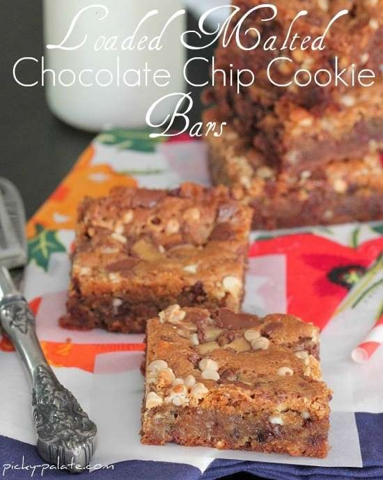 Loaded malted chocolate chip cookie bars | Faith's Foods | Pinterest