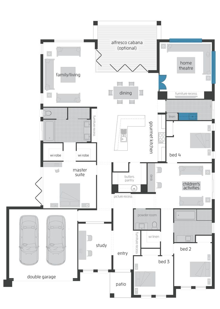 Seaside Retreat Upgrades Floor Plan - make the study a storage & work area for the garage.
