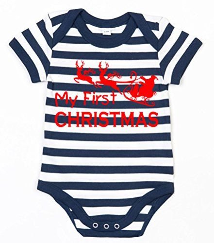 Navy & White Striped MY 1ST CHRISTMAS' with Red Print.