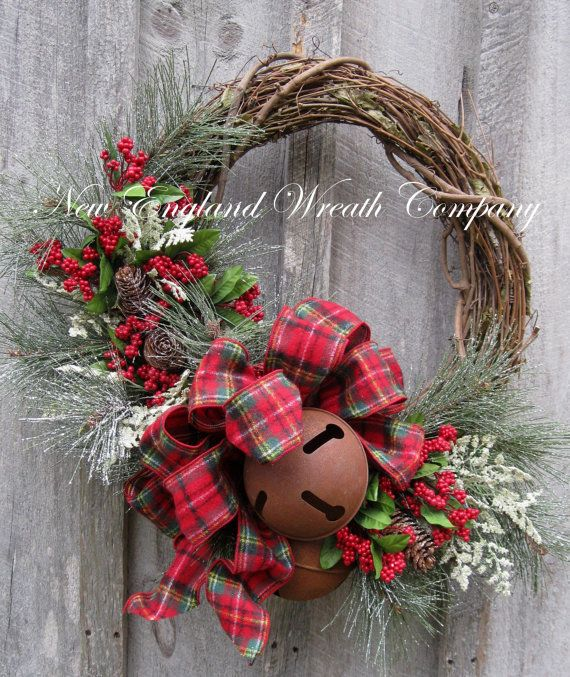 Christmas Wreath Holiday Wreath Sleigh Bells by NewEnglandWreath, $169.00
