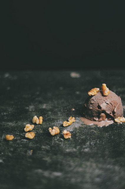 dark chocolate walnut oil ice cream.