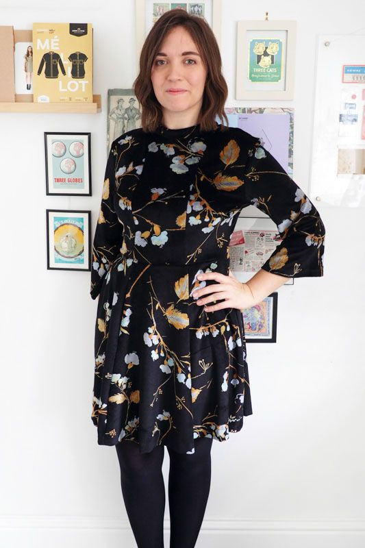 Katie's velvet Martha dress - sewing pattern by Tilly and the Buttons