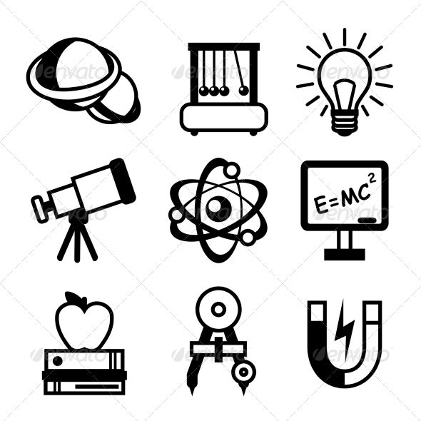 Physics science equipment teaching and studying black and white education icons set isolated vector illustration. Editable EPS and