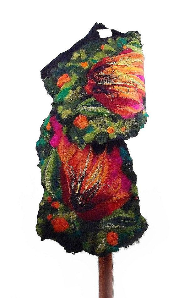 Felted Scarf Nunofelt Scarf Wrap Scarves wild Felt Nunofelt Nuno felt Silk Silkyfelted Eco Rainbow fairy multicolor floral shawl Fiber Art