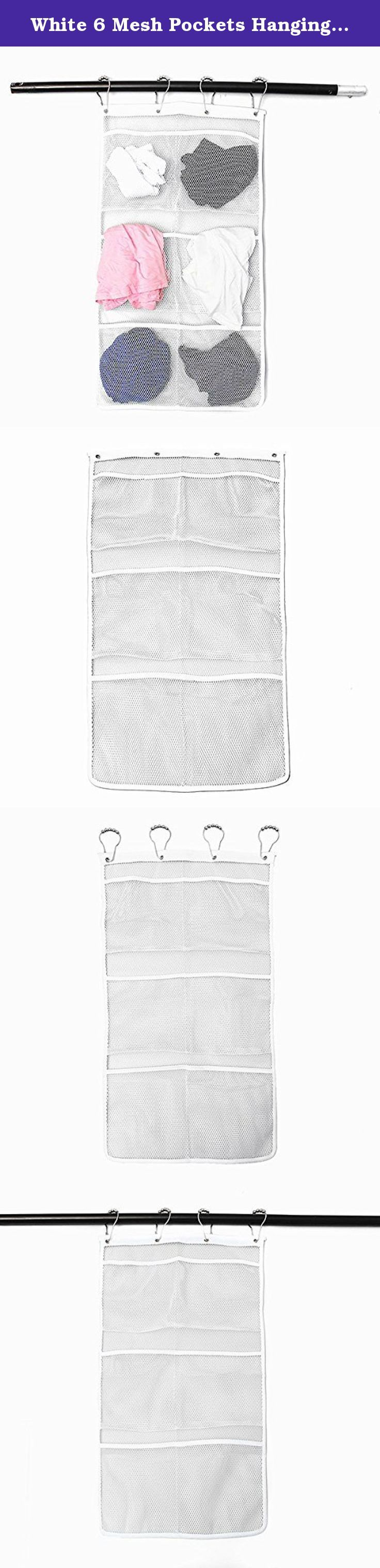 White 6 Mesh Pockets Hanging Organizer Bath Storage Hanger Bag // Blancos 6 bolsillos de malla colgantes organizador baño suspensión del bolso de almacenamiento. Description : White 6 Mesh Pockets Hanging Organizer Bath Storage Hanger Bag This white pocket organizer has 6 different mesh pockets and it is great to store all your bathing and shower supplies. Also, it is a great tools to store your daily stuff and and kids toys :) Specification : Material : mesh Color : white Weight :64g Size…