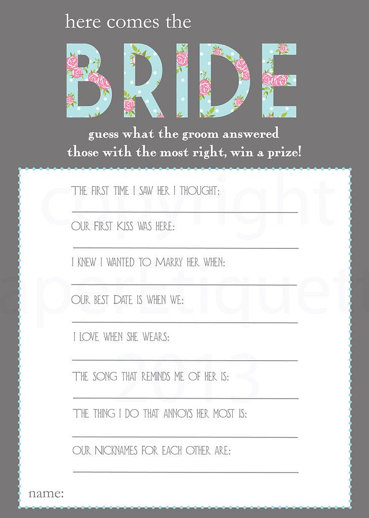 Printable Bridal Shower Games - I kind of like this game
