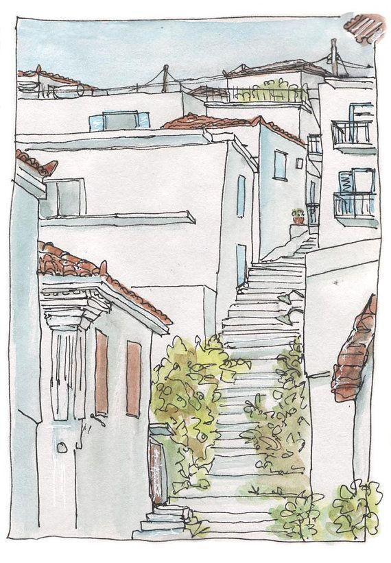 Stepped Street  Traditional Greek Village  Art by Artistswindow 28