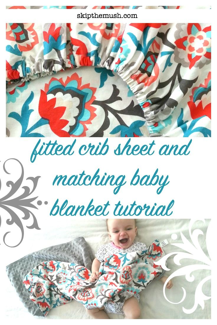 DIY tutorial for fitted crib sheet with a matching baby blanket. Video Tutorial in blog post.