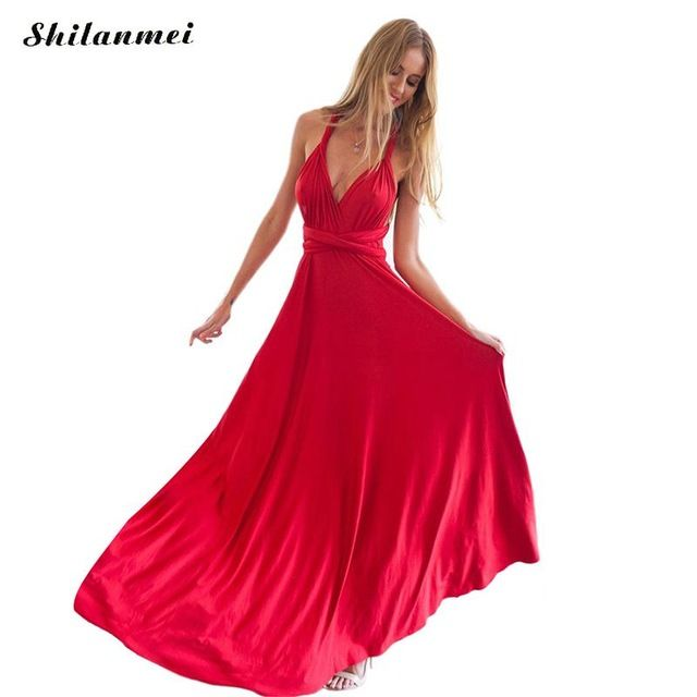 Top Offers $15.99, Buy Summer Sexy Dress Women Red Beach Long Bandage Multiway Convertible Dresses Infinity Wrap Robe Boho Maxi Dress Wrap Vestido 2017