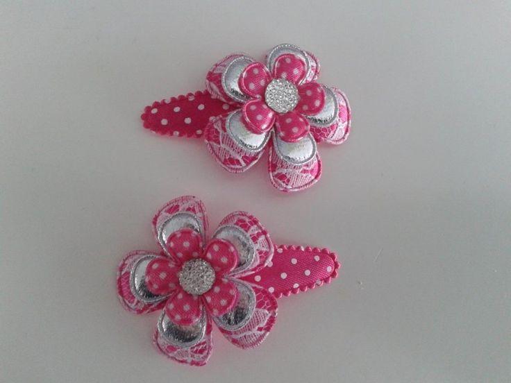 Haarspeldjes roze/zilveren bloemen