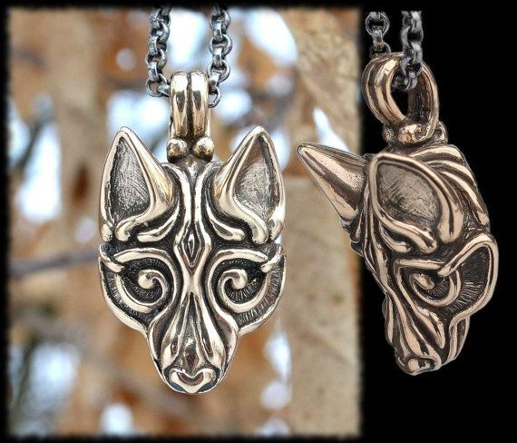 Bronze Viking WOLF Head Pendant Necklace Celtic Pagan Jewelry Jewellery Borre Scandinavia Iceland Fenrir Fenri