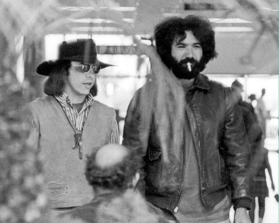 """Owsley """"Bear"""" Stanley and Jerry Garcia, San Diego Airport, 1968"""