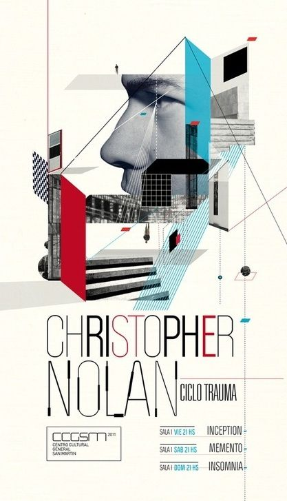 Christopher Nolan. Sterile, deconstructed, scientific modernism is a strong communicator here. Interesting type adds a sense of uneasiness to the whole composition.