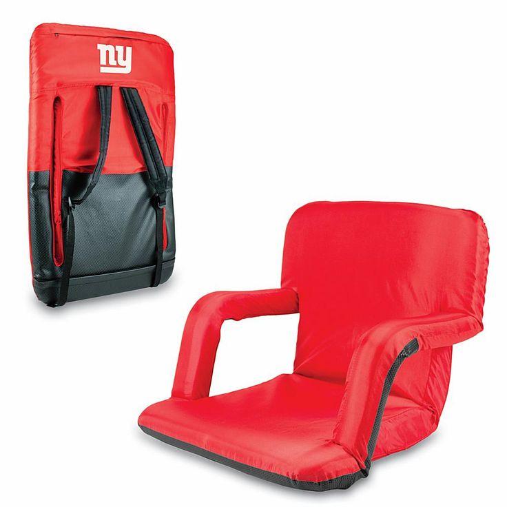 Football Fan Shop Picnic Time Ventura Folding Stadium Chair - New York Giants - Red