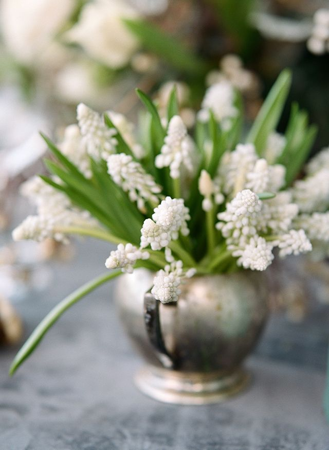 Antique silver pitcher single floral arrangement filled with muscari by Loop Flowers. pic Christina McNeill
