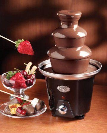 Mini Chocolate Fondue Fountain http://www.lovedesigncreate.com/nostalgia-electrics-cff-965-mini-chocolate-fondue-fountain/