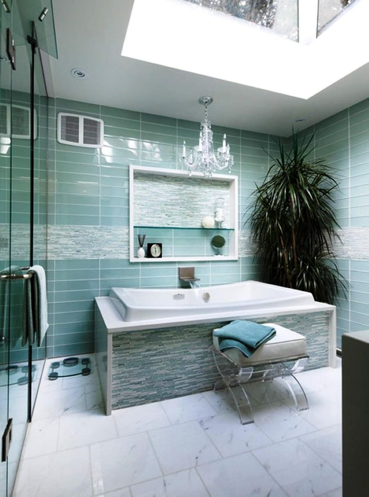 Interior:Natural Plant Decorating Idea Mixed With White Tub Also Glass Shower Door Plus Turquoise Bathroom Wall Tile Exciting and Refreshing Turquoise Bathroom Decor with Accessories