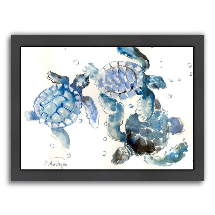 Americanflat Suren Nersisyan 'Sea Turtles' Nautical Framed Art