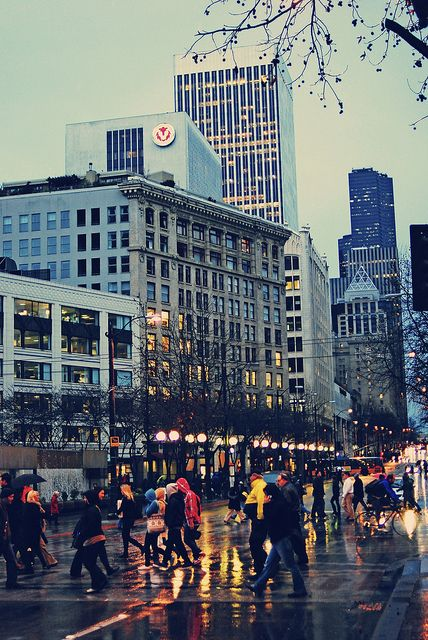 Seattle. With that beautiful slick sidewalk and reflecting lights!