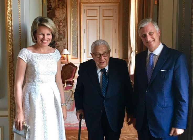 King Philippe and Queen Mathilde recieved, Henry Kissinger at the castle of Laken, in connection to an Asia Society event