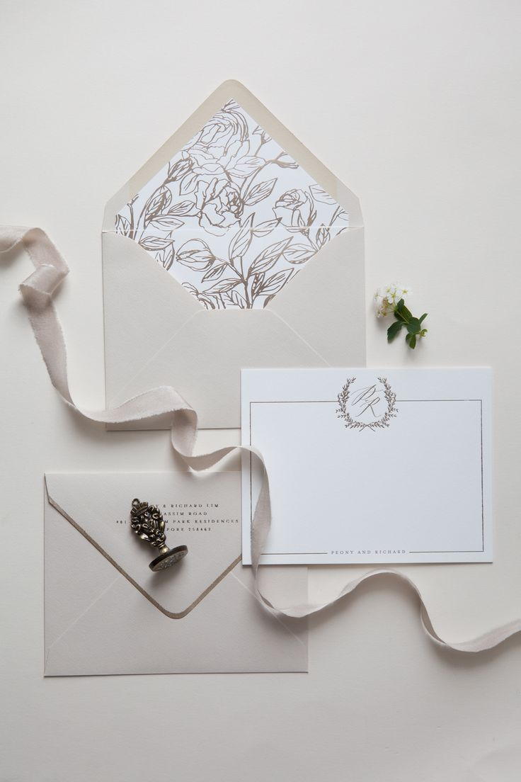 Calligraphy and Design by: Written Word Calligraphy // Champagne Foil // Peony Envelope Liner // Foil Envelope Liner // Nude Envelopes // Monogram Note Cards // Foil Edged Envelopes