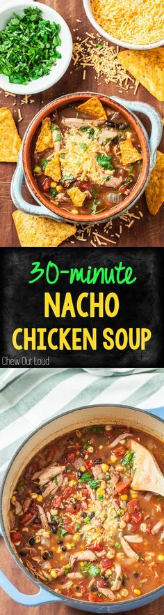 This 30-Minute Nacho Chicken Soup is overflowing with bold flavors. It's a crowd pleasing hit and a fabulous weeknight meal. Hits the spot every time.