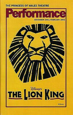 """Theatre Programme from the Premiere Toronto Production of the Elton John / Tim Rice / Lebo M. musical """"The Lion King,"""" which performed from March 31, 2000 thru January 6, 2004 at the Princess of Wales Theatre."""