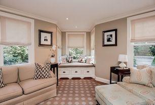 Traditional Living Room with Hardwood floors, Window seat, Custom Window Seat Cushions - Standard Comfort, Crown molding